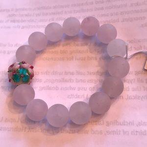 Rose Quartz w/handmade Glass focal bead Bracelet